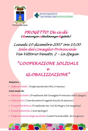 Locandina del convegno &quot;COOPERAZIONE SOLIDALE e GLOBALIZZAZIONE&quot; 