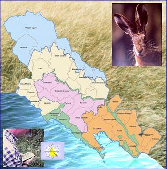 Cartina del Piano faunistico venatorio della Provincia della Spezia