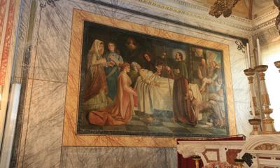 Foto di un particolare della Chiesa parrocchiale di Carrodano Superiore